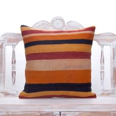 "Colorful Striped Kilim Pillow 20x20"" Vintage Turkish Handmade Cushion"
