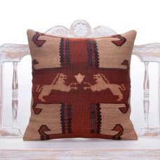 Oriental Vintage Turkish Kilim Pillow 20x20 Handmade Eastern Sofa Throw