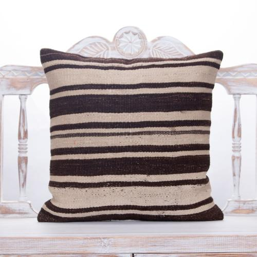 "Striped Handmade Kilim Pillow 20x20"" Natural Vintage Turkish Rug Throw"