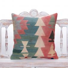 "Tribal Anatolian Kilim Throw Pillow 20x20"" Vintage Colorful Rug Cushion"