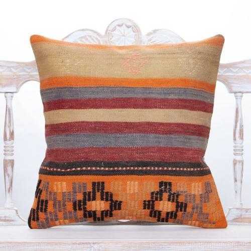 "Anatolian Decorative Kilim Pillow 20x20"" Striped Handmade Rug Cushion"