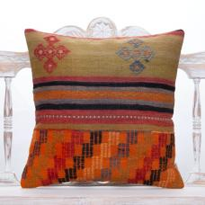 Anatolian Kilim Pillow 20x20 Orange & Green Handmade Decorative Cushion