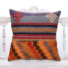 Anatolian Vintage Kilim Throw Pillow 20x20 Handmade Turkish Rug Cushion