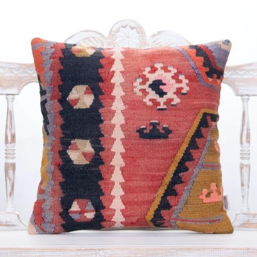 """Antique Anatolian Kilim Pillow 20x20"""" Retro Interior Decor Sofa Throw"""