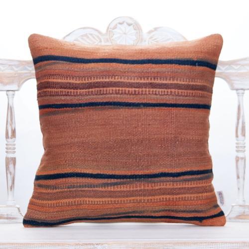 "Antique Striped Rug Cushion 20x20"" Muted Decorative Kilim Throw Pillow"