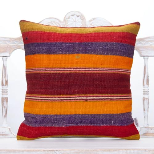 "Bohemian Decoration Kilim Throw Pillow 20x20"" Striped Colorful Cushion"