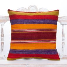"Colorful Boho Kilim Pillow 20x20"" Striped Handmade Turkish Rug Cushion"