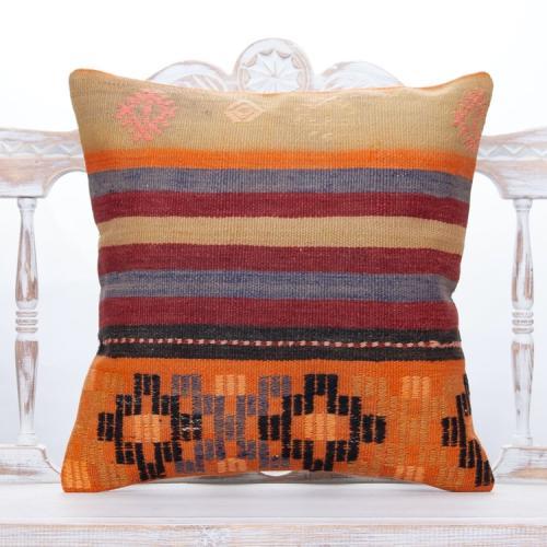 "Colorful Handmade Turkish Kilim Cushion 20"" Anatolian Decor Throw Pillow"