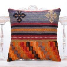 "Colorful Retro Decor Throw Kilim Pillow 20x20"" Embroidered Rug Cushion"