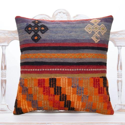 "Colorful Retro Decor Throw Kilim Pillow 20x20"" Embroidered Rug Cushion"