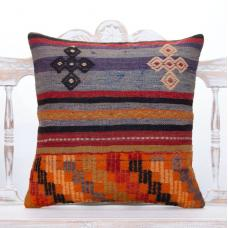 "Cottage Embroidered Kilim Pillow 20x20"" Anatolian Colorful Sofa Throw"