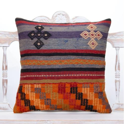 "Cottage Embroidered Kilim Pillow 20x20"" Anatolian Colorful Sofa Throw"