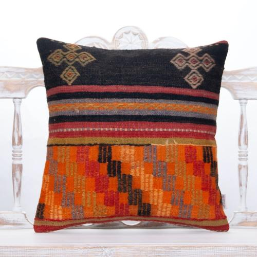 "Ethnic Anatolian Kilim Pillowcase 20x20"" Embroidered Decorative Pillow"