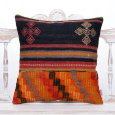 "Ethnic Decorative Rug Throw Pillow 20x20"" Vintage Turkish Kilim Cushion"