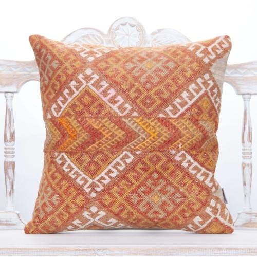 "Full Embroidered Vintage Kilim Pillow 20"" Large Decorative Rug Cushion"