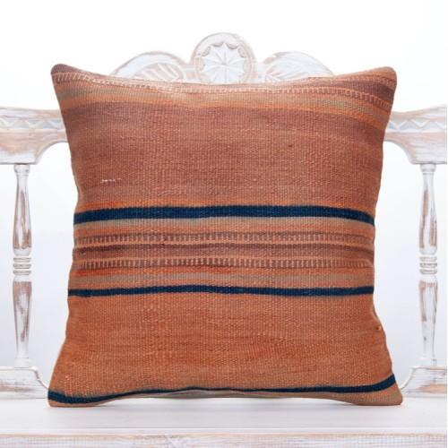 Muted Indigo Striped Kilim Pillow 20x20 Square Antique Sofa Decor Throw