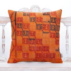 Orange Anatolian Kilim Throw Pillow 20x20 Turkish Handmade Sofa Cushion