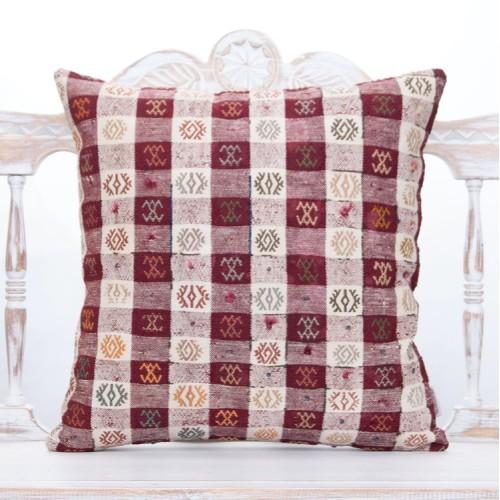 """Oriental Turkish Kilim Pillow 20"""" Embroidered Vintage Home Decor Throw"""