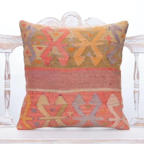 "Pastel Oriental Turkish Kilim Pillow 20x20"" Antique Decor Accent Throw"