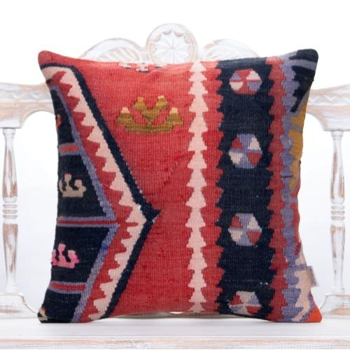 "Retro Home Decor Throw Pillow 20x20"" Red Anatolian Kilim Rug Pillowcase"
