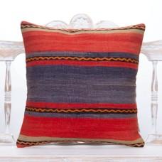 "Retro Red & Blue Kilim Pillow 20"" Decorative Handmade Sofa Floor Throw"