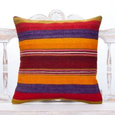 Striped Boho Kilim Pillow 20x20 Colorful Handmade Turkish Cushion Cover