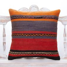 "Striped Handmade Kilim Pillow 20x20"" Colorful Sofa Floor Throw Cushion"