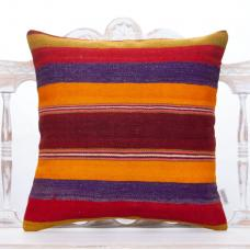 "Vibrant Colorful Kilim Pillow 20"" Striped Handmade Turkish Rug Cushion"