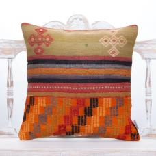 Vintage Anatolian Kilim Pillow 20x20 Tribal Turkish Handmade Sofa Throw