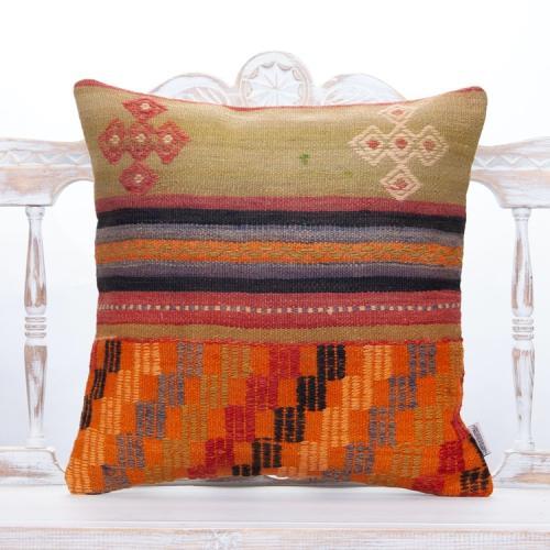 Vintage Anatolian Kilim Pillow 20x20 Tribal Turkish Handmade Sofa Throw