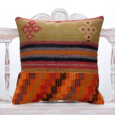 "Vintage Embroidered Kilim Pillow 20x20"" Ethnic Decor Throw Pillowcase"