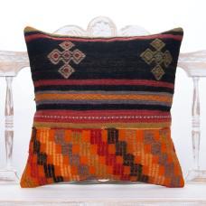 "Vintage Embroidered Turkish Pillow 20x20"" Decorative Kilim Pillowcase"