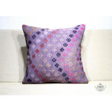 Large Embroidered Kilim Pillow Turkish Violet Cottage Chic Floor Throw Cushion