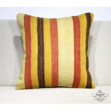 Striped Interior Decor Kilim Pillow Rustic Turkish Kelim Rug Floor Cushion Cover