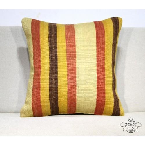 Striped Interior Decor Kilim Pillow Rustic Turkish Kelim Rug Floor Cushion Cover