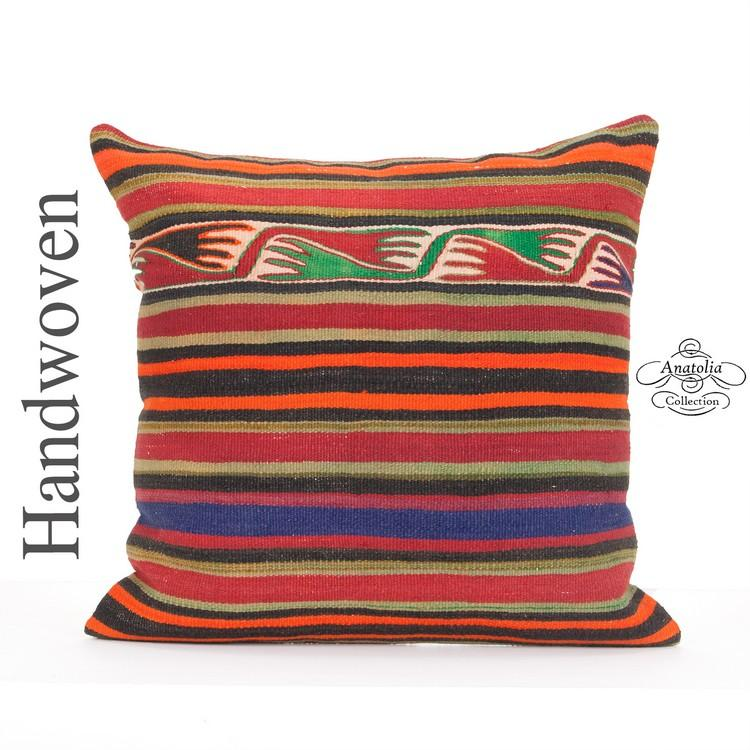 Oriental Kilim Pillow Cover 24x24 Quot Large Striped Anatolian