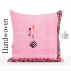 Pink Embroidered Kilim Cushion 24x24 Large Eclectic Floor Throw Pillow
