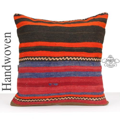 Striped Large Kilim Cushion Cover 24x24 Square Hand Woven Throw Pillow