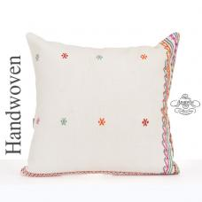 "White Shabby Chic Pillow Cover 24x24"" Large Turkish Kilim Pillowcase"