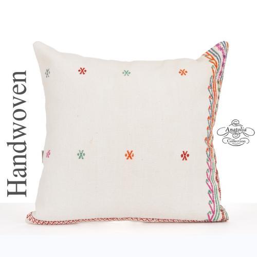 "White Shabby Chic Pillow Cover 24x24"" Large Turkish Kilim Pillowcase"