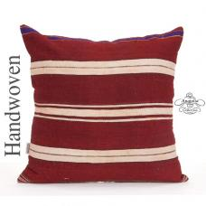 Decorative Striped Handmade Kilim Pillow Cover 24x24 Sofa Floor Throw
