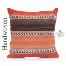 "Ethnic Large Kilim Pillow 24x24"" Vintage Turkish Floor Throw Cushion"