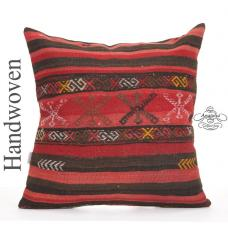 "Large Ottoman Outdoor Floor Throw Pillow 24"" Striped Red Kilim Cushion"