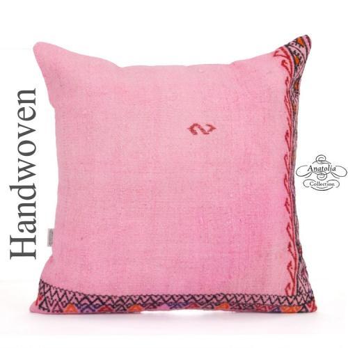 "Large Pink Embroidered Kilim Throw Pillow 24"" Boho Decorative Cushion"