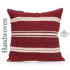 Striped Large Kilim Pillow Cover 24x24 Contemporary Decorative Cushion