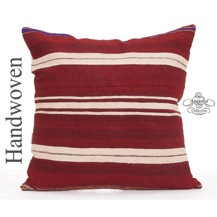 Striped Large Kilim Pillow Cover 24x24 Contemporary Decorative Cushion