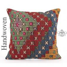 Vintage Large Kilim Pillowcase Colorfull Ottoman Floor Throw Pillow