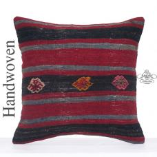 "Ethnic Striped Decorative Pillow Cover 24x24"" Large Kilim Rug Cushion"