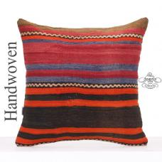 "Large Striped Pillow Cover 24x24"" Vintage Turkish Kilim Rug Cushion"