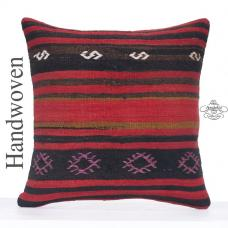 Large Vintage Kilim Pillow 24x24 Big Striped Turkish Rug Cushion Cover